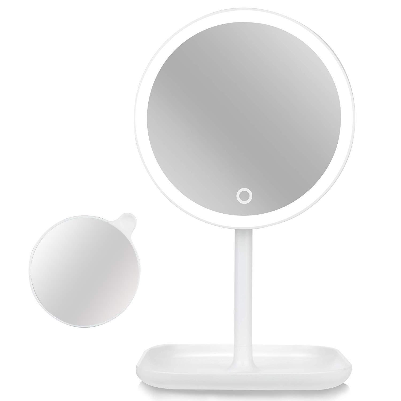 Lighted Vanity makeup Desktop Mirror with 5X Magnification Spot Mirror