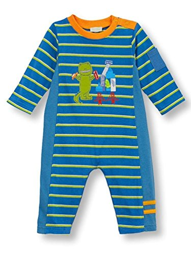 Le Top Baby Boys Dino In The City T-Rex Striped Coveralls Romper