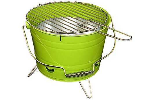 Nexos Eimergrill Grill-Eimer Holzkohlegrill für Garten Terrasse Camping Festival Picknick Party BBQ Barbecue Ø 30 cm grün