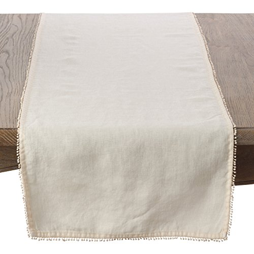 SARO LIFESTYLE Pomponin Collection 100% Linen Table Runner with Pompom Edges, 16'' x 72'', Cream by SARO LIFESTYLE