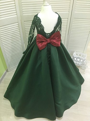 Banfvting Dark Green Girls Pageant Dress With Bow Lace Sleeves by Banfvting (Image #1)