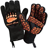 Grizzly Grillin' Heat Resistant Grill BBQ Gloves - Perfect for Oven Cooking Barbeque Grilling Smoker Fire Pit for Men and Women - Protect Your Hands and Cook in Comfort to 932° | EN407 | 1 Pair