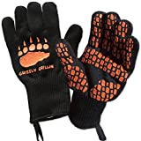 HEAT RESISTANT BBQ GRILLING COOKING GLOVES - Perfect for Barbeque Oven Fireplace Smoker Fire Pit Camping Picnic - Grill Masters Protect Your Hands and Make Great Food in Comfort Up To 932°F - 1 pair