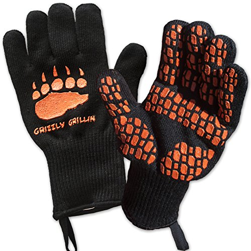 HEAT RESISTANT BBQ GRILLING COOKING GLOVES - Perfect for Barbeque Oven Fireplace Smoker Fire Pit Camping Picnic - Grill Masters Protect Your Hands and Make Great Food in Comfort Up To 932°F - 1 pair by Grizzly Grillin'