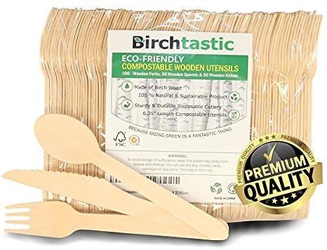 De madera desechables – cubertería de 15,88 cm utensilios de madera, ecológico biodegradables