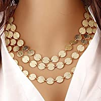 Hunputa Fashion Charm 3 Layers Sparkling Coins Chain Choker Pendant Necklace Jewelry for Womens Gift (Glod)