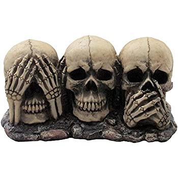 no evil skulls figurine for scary halloween decorations and spooky skeleton statues u0026 medieval fantasy home