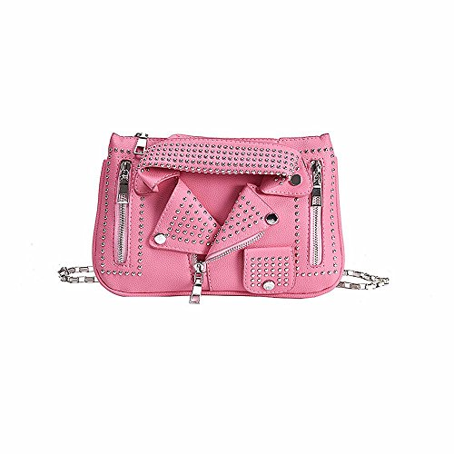 And Jin - Crossed Womens Leather Bag Pink One Size