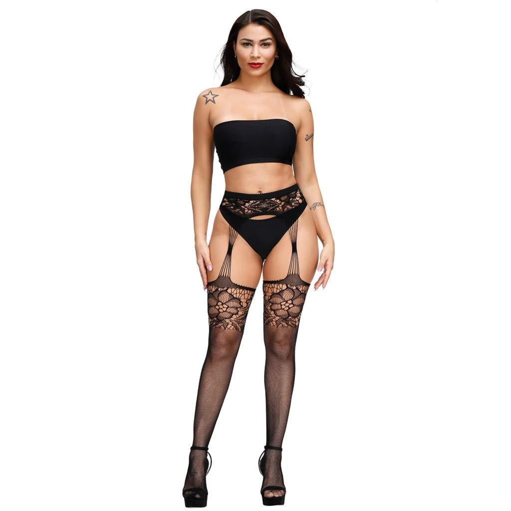 Allegorly Bas Résille Sexy Femme, Collants Taille Haute Open Soft Collants Lingerie, Body en Dentelle Transparente, Collants Bas Cuisse