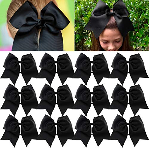Competition Clip - Large Cheer Bows Ponytail Holder Girls Elastic Hair Ties 8