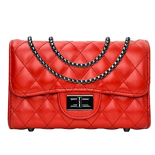 Women Quilted Crossbody Bag Genuine Leather Clutch Purse with Chain Strap Ladies Small Shoulder Handbags - Red