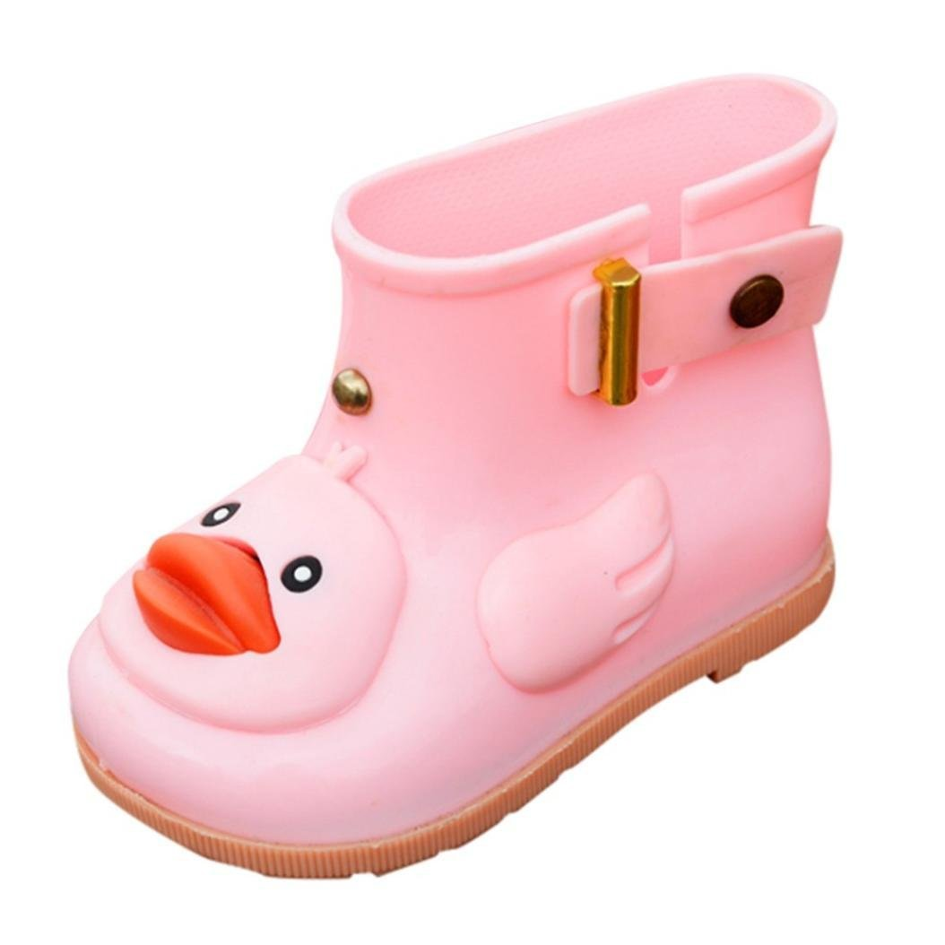 Voberry@ Waterproof Rain Boots,Cartoon Duck Rain Shoes,Rubber Rain Booties for Kids Toddler Girl Boys