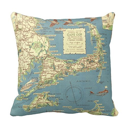 Decorative Cotton 18 X 18 Twin Sides Vintage Cape Cod Map  T