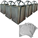 Reusable Grocery Shopping and Produce Bags 10 Bag Set w/ Reinforced Bottom by Green Tree Bags. 5 Shopping bags PLUS 5 Produce Bags.