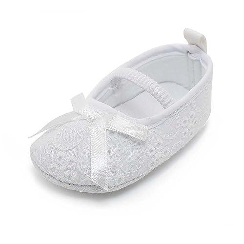 DELEBAO Scarpe Primi Passi Bambini Scarpe Battesimo del Bambino Bianco  Scarpe morbide Sole Bambino Scarpe ( b37ebd0e234