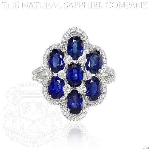 18K White Gold, Seven Sapphire and Diamond Ring. (J4676) ()