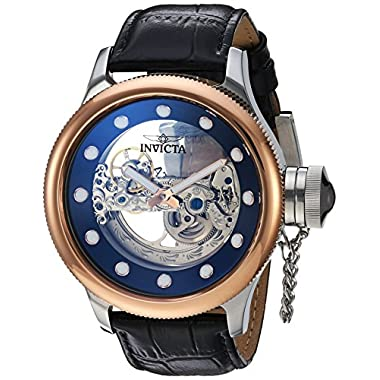8871b69c420 Invicta Men s Russian Diver Stainless Steel Automatic-self-Wind Watch with  Leather Calfskin Strap