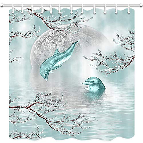 Dolphins Shower Curtain, Dolphins Jump Out of Ocean in Mysitc Sky of Full Moon and Cherry Blossoms Marine Animals Bath Curtains Kids Sea Decor, Fabric Bathroom Accessories 12PCS Shower Hooks 69X70 in