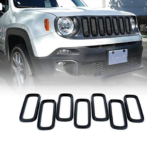 Vacally 7PCS Black ABSD Car Front Grilles Gloss Black Front Kidney Grille Double Slat M4 Sport Style Grill Insert Cover for Jeep Renegade 2015-2019
