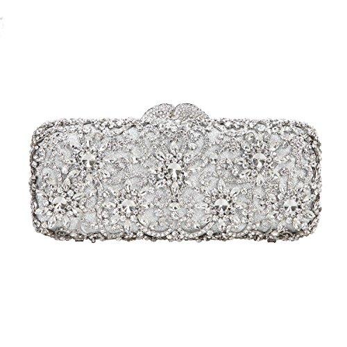 Baguette Handbag Bag - Fawziya Sun Flower Purse Women's Baguette Rhinestone Clutch Evening Bag-Silver