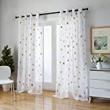 Kotile Gold Star Print Voile Sheer Curtains for Girls Room/Kids Room 95 Inch Length 2 Panels, Home Decor Window Trensparent and Soft Cosmic Ring Top Curtains with Star Wars Curtains For Sale