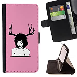 DEVIL CASE - FOR Sony Xperia M2 - Deer Horns Woman Art Nude Portrait Brunette - Style PU Leather Case Wallet Flip Stand Flap Closure Cover