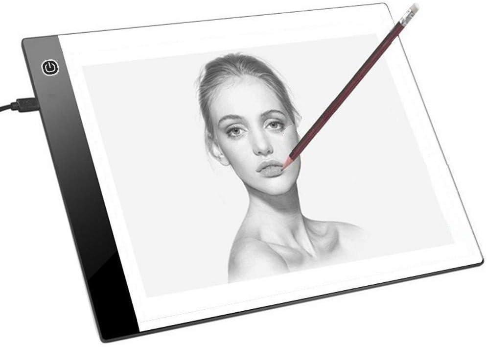 JZK Mesa de luz dibujo A4 brillo ajustable con cable USB caja de luz dibujo para pintar dibujar artesanía bocetos pintura diamante artcraft tattoo acolchado