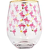 Gift Boutique Stemless Funky Flamingo Stemless Wine Glasses 19oz, Set of 2