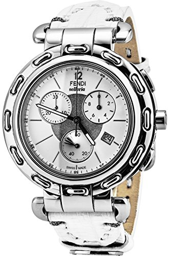 Fendi Selleria Mens Stainless Steel Swiss Chronograph Watch with Selleria Horse Logo - White Face White Leather Strap Analog Fashion Dress Watch For Men with Interchangeable Band - Watches Men Fendi