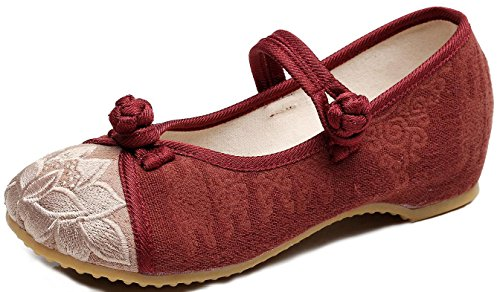 SATUKI Handmade Embroidered Shoes For Women, Chinese Style Casual Loafer Flat Floral Dress Shoes Red