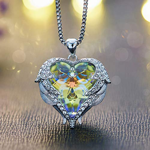 CDE Swarovski Necklaces Heart Crystal Jewelry Locket Pendant Silver Necklaces Women Birthstone Gifts by CDE (Image #4)