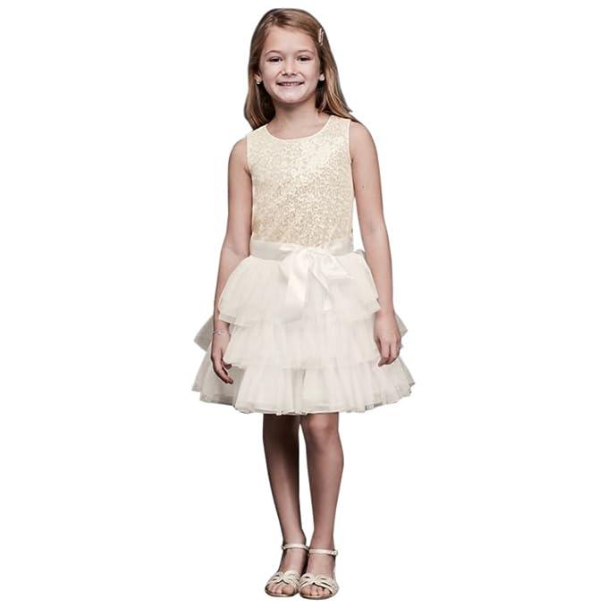 Amazon.com: Tiered tul flor niña/vestido de comunión con ...