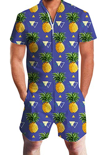 (Leapparel Men Printed One Piece Jumpsuit Zip Short Sleeve Pants Rompers Overalls (XXL, Pineapples))