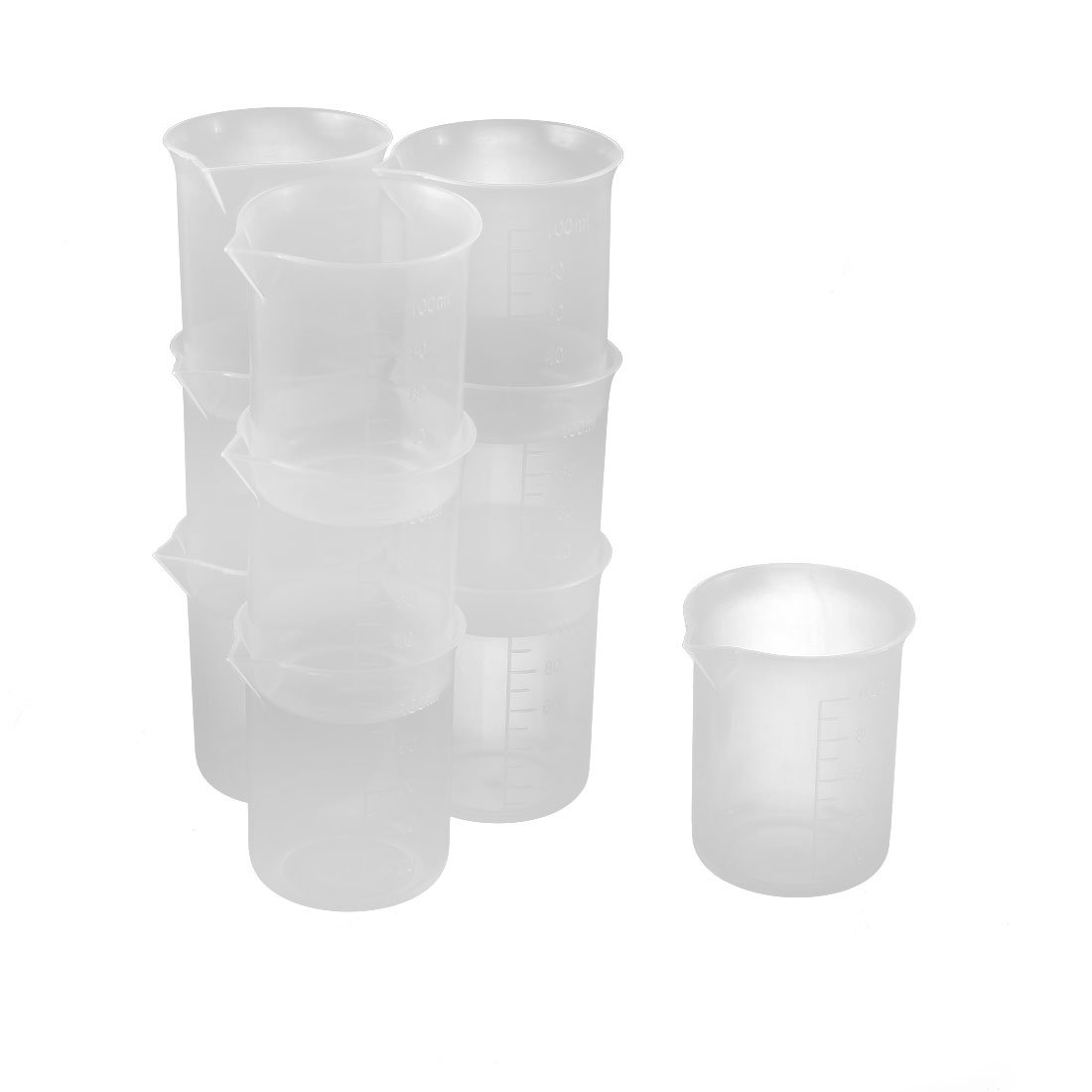 uxcell® Plastic 100mL Laboratory Sharp Spout Water Solution Graduated Beaker 10pcs US-SA-AJD-147636