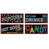 Set Of 4 Movie Night Neon Food Sign Cutouts 18'' Party Decorations