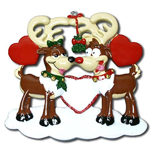 - Personalized Reindeer Love Christmas Tree Ornament 2019 - Romantic Deer Couple Under Mistletoe Hearts on Ice Tradition Christ-Moose 1st First Family 2 The Red Nose Gift Year - Free Customization