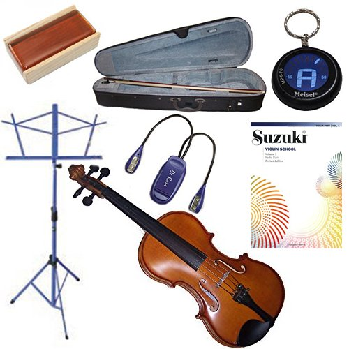Beginner Violin Package 1/4 (5-7 yr old) - with Music Stand (Blue), Blue Music Stand Light, Rosin, Meisel Keychain Tuner & Music Book 1 (Suzuki Violin School: Violin Part, Vol. 1) (Mpt Players)
