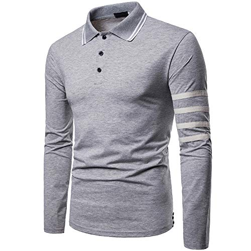 Elegeet Mens Casual Striped Collar T-Shirt Stylish Long Sleeve Sport Polo Shirts Grey X-Large