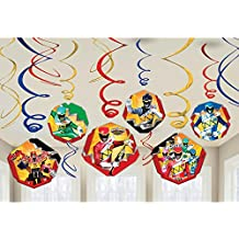 Amscan Power Rangers Dino Charge Birthday Party Foil Swirl Decorations Value Pack (12 Piece), Multi