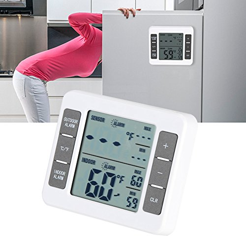 Delaman Wireless Digital Freezer Thermometer Indoor/Outdoor Temperature Sensor with Audible Alarm