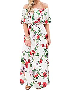Womens Floral Off The Shoulder Dresses Summer Casual Ruffle High Waist Slit Long Maxi Dress with Pockets