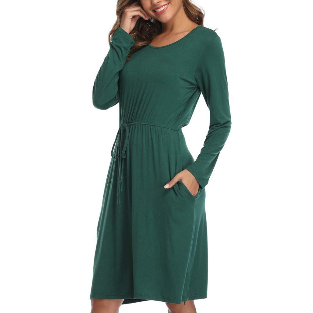 Beihxwe Women's Casual Pockets Midi Dress Long Sleeve Drawstring Belt Solid Color Loose Pleated T-Shirt Dress (L, Green) by Beihxwe