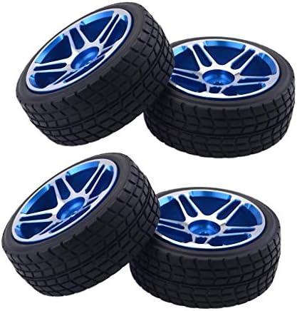 4個 ホイールタイヤ ゴム アルミニウム合金 1/10 RCカー用 アップグレードパーツ 交換 青