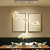 LgoodL Modern Minimalist 3 Heads Restaurant Iron Chandelier Led Crystal Butterfly Creative Personality Bar Dining Room Meal Hanging Lamps (White Light) Review