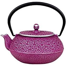 Japanese Cast Iron Teapot 20 oz Nambu-tekki Sakura Cherry Blossoms - Purple & Silver [Japanese Crafts Sakura]