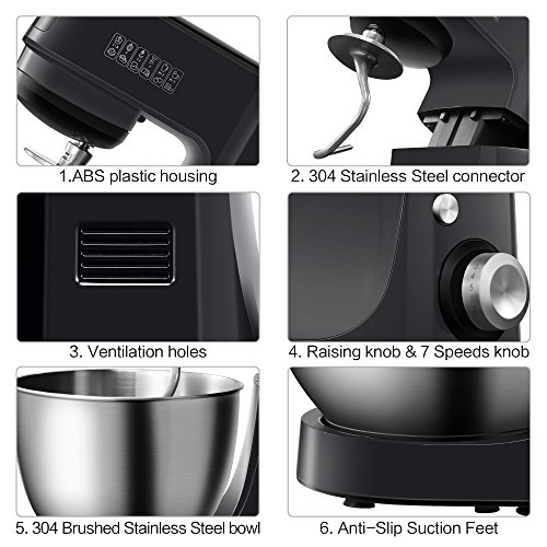 Comfee 4.75Qt 7-in-1 Multi Functions Tilt-Head ABS housing Stand Mixer with SUS Mixing Bowl. 4 Outlets with 7 Speeds & Pulse Control and 15 Minutes Timer Planetary Mixer ¡­ by COMFEE' (Image #4)