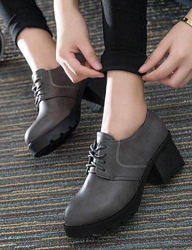 ZQ hug Zapatos de mujer-Tacón Robusto-Punta Redonda-Tacones-Casual-Semicuero-Negro / Rojo / Gris , gray-us6 / eu36 / uk4 / cn36 , gray-us6 / eu36 / uk4 / cn36 gray-us6 / eu36 / uk4 / cn36