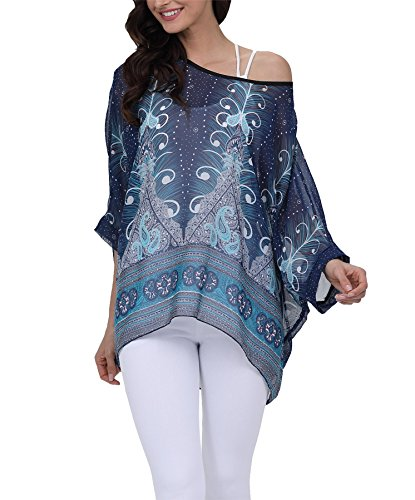 Vanbuy Women Summer Floral Printed Batwing Sleeve Top Chiffon Poncho Casual Loose Blouse Z91-4295 ()