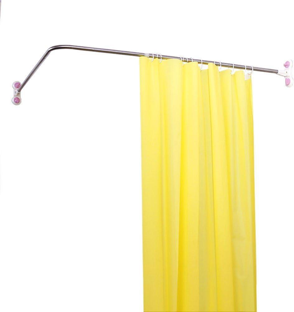 BAOYOUNI Curved Shower Curtain Rod Suction Cups L-Shaped Corner Bath Curtain Rail Bar Metal Expandable Pole 102 x (118-180) cm L-Shaped, 102 x (118-180)cm