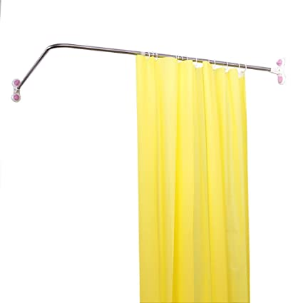 Baoyouni Curved Shower Curtain Rod Suction Cups L Shaped Corner Bath Rail Bar Metal Expandable Pole 102 X 118 180cm Amazoncouk Kitchen Home